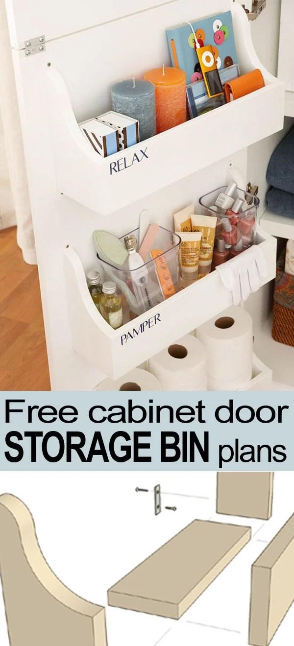 cabinet door storage bin pin button