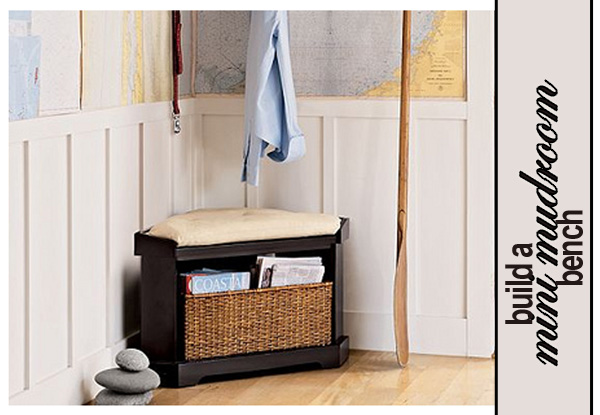 Mini Mudroom Corner Storage Bench