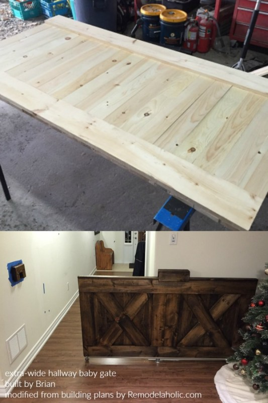 Double Wide Wooden Sliding Barn Door Baby Gate For Hallway, Built By Brian, Plans By Remodelaholic