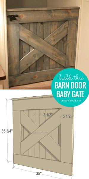How To Build A DIY Wooden Barn Door Baby Gate, Indoor Pet Gate, With Matching Dutch Split Door #remodelaholic