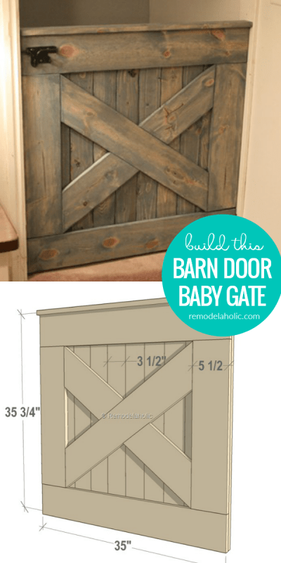 How To Build A DIY Wooden Barn Door Baby Gate, Indoor Pet Gate, With Matching Dutch Split Door #remodelaholic