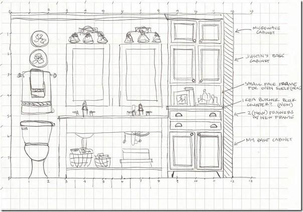 Bathroom elevation sketch