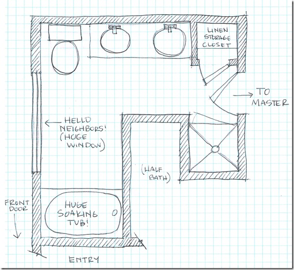 Master Bathroom Floorplan Sketch