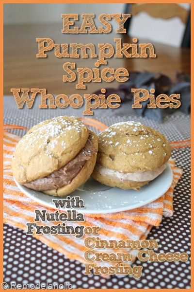 Pumpkin spice whoopie pies with nutella frosting or cinnamon cream cheese frosting