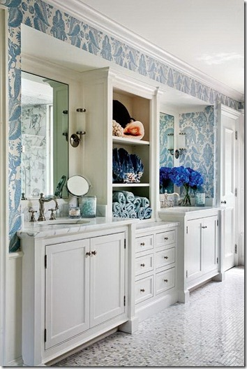 center storage between double vanity