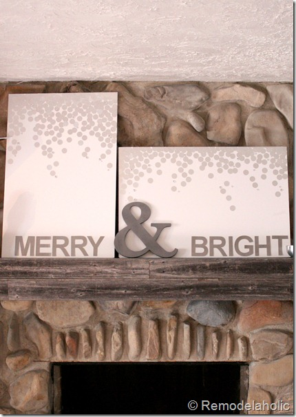 Christmas art canvas Merry and bright snow silver and white (20)