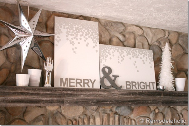Christmas art canvas Merry and bright snow silver and white (21)