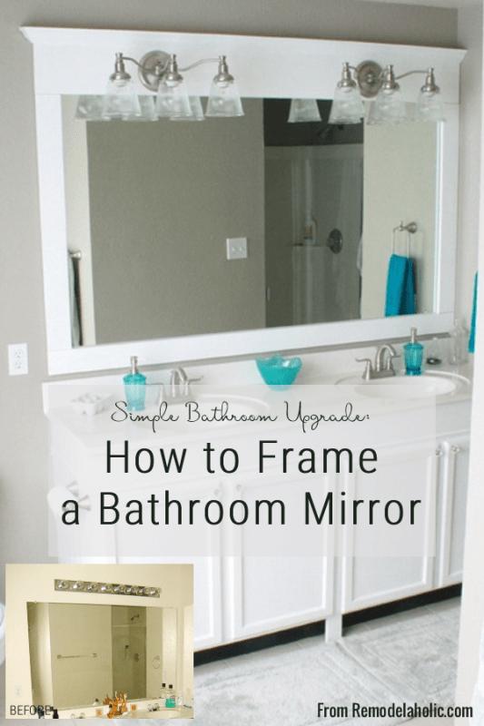 Framing a large bathroom mirror, DIY Tutorial, How To Add A Frame To A Bathroom Mirror, @Remodelaholic
