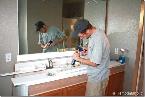 Framing a large bathroom mirror (13)
