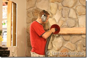 Installing a wood mantel on a stone wall (29)