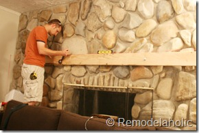 Installing a wood mantel on a stone wall (39)