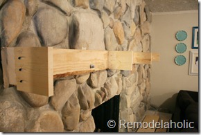 Installing a wood mantel on a stone wall (63)