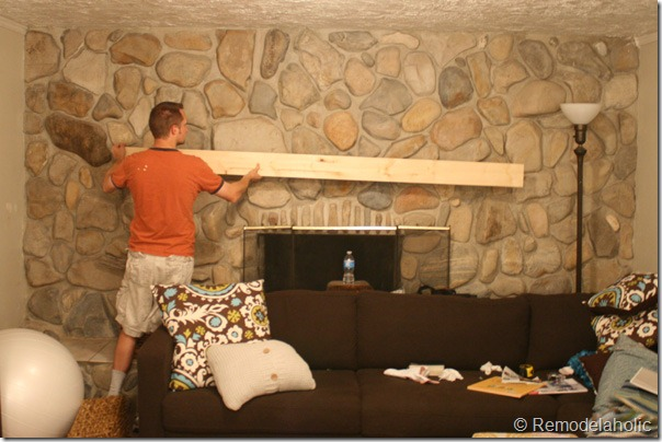 Remodelaholic Installing A Wood Mantel On A Stone Wall