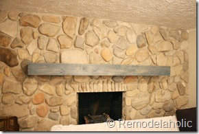 Installing a wood mantel on a stone wall (77)