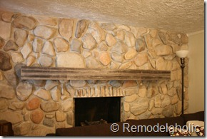 Installing a wood mantel on a stone wall (80)