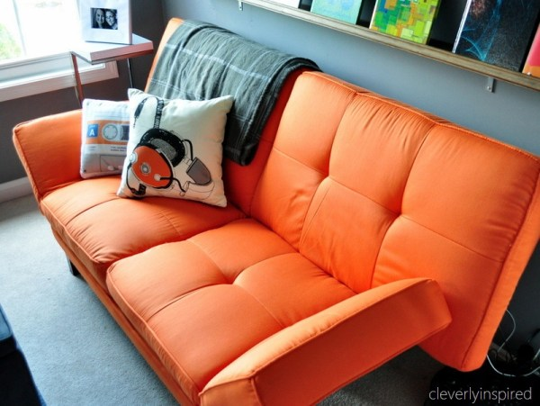 best couch for boys room makeover folds out for guests, cleverly inspired @remodelaholic