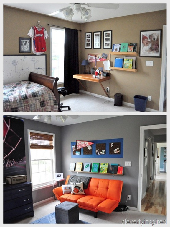 gray and orange boys room before and after, cleverly inspired @remodelaholic