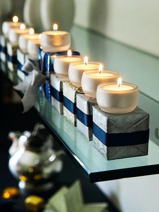 Holiday mantel ideas, candles for Hannukah by Better Homes and Gardens