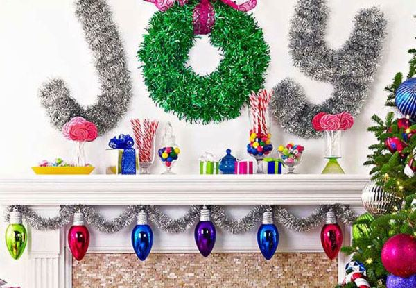 joy merry and bright mantel,  holiday or Christmas Mantel ideas by Lowe's Creative Ideas