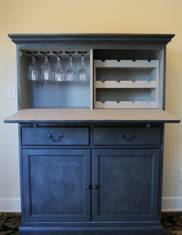 ChiChi Studio zinc bar in office open - Remodelaholic DIY Antique Zinc Finish Tutorial