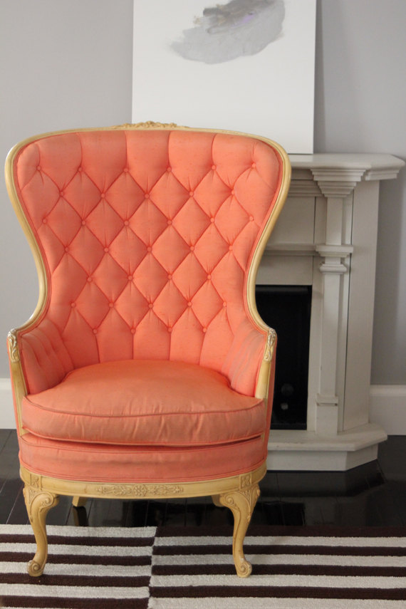 Etsy tufted coral chair