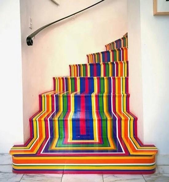 Architecture Art Designs rainbow stripe stairs