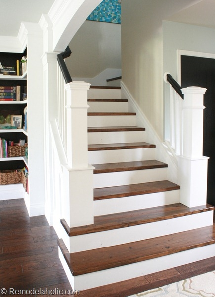 Remodelaholic Colorful Stairwell Makeover With Fabric | Redoing Stairs With Wood