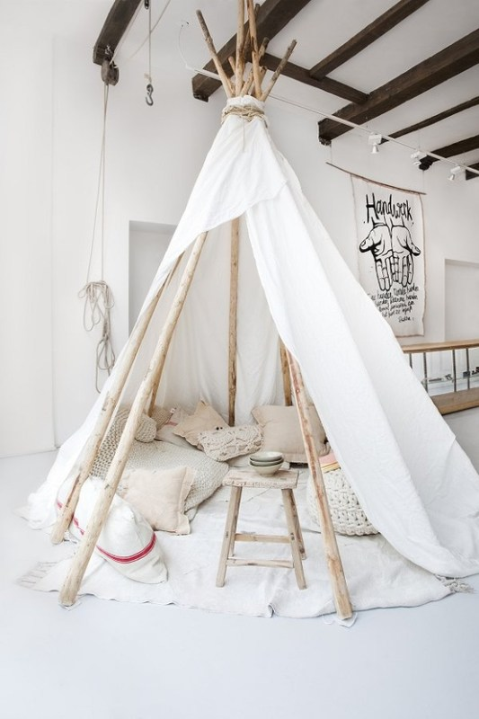 Indoor Tee-pee with pillows