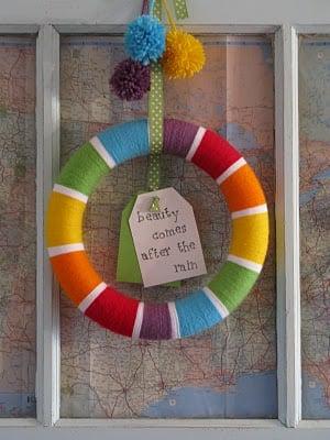 Real Life rainbow yarn wreath