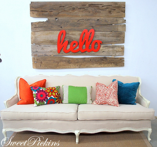 Sweet Pickins hello sign and couch