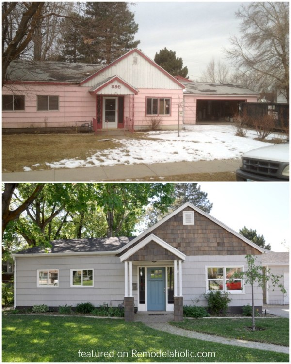 Before After Flip House Exterior @Remodelaholic