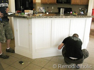 Remodelaholic | Fabulous Kitchen Island Makeover: Part One on cabinets on island, granite on island, tile on island, beadboard on island, sink on island, columns on island, home on island, corbels on island, marble on island, bar on island, shelving on island, base on island, stone on island,