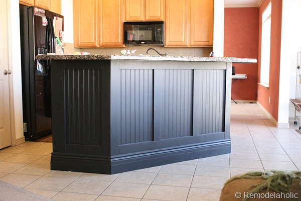 beadboard kitchen island flat door cabinets remodelaholic fabulous makeover part one black board and batten 31d 1 2