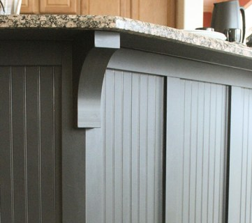black board and batten kitchen island makeover with corbels