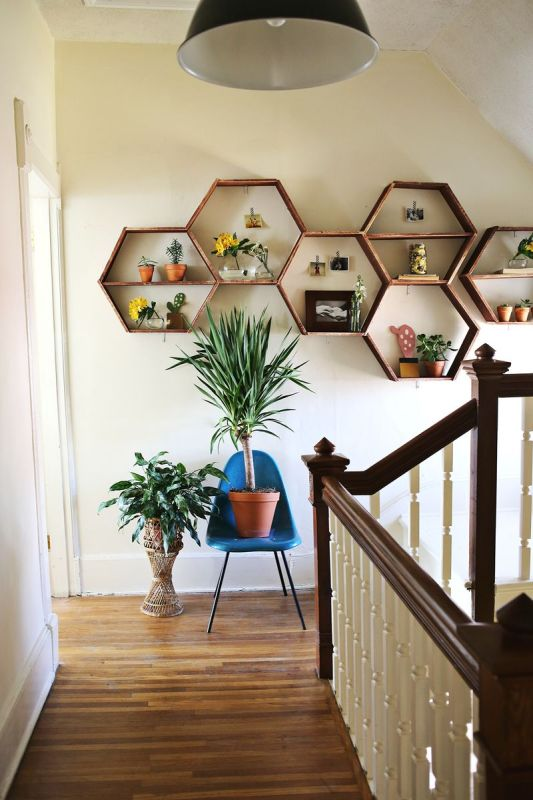 A Beautiful Mess honeycomb shelves