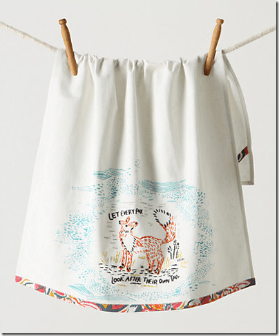 Anthro fox dish towel
