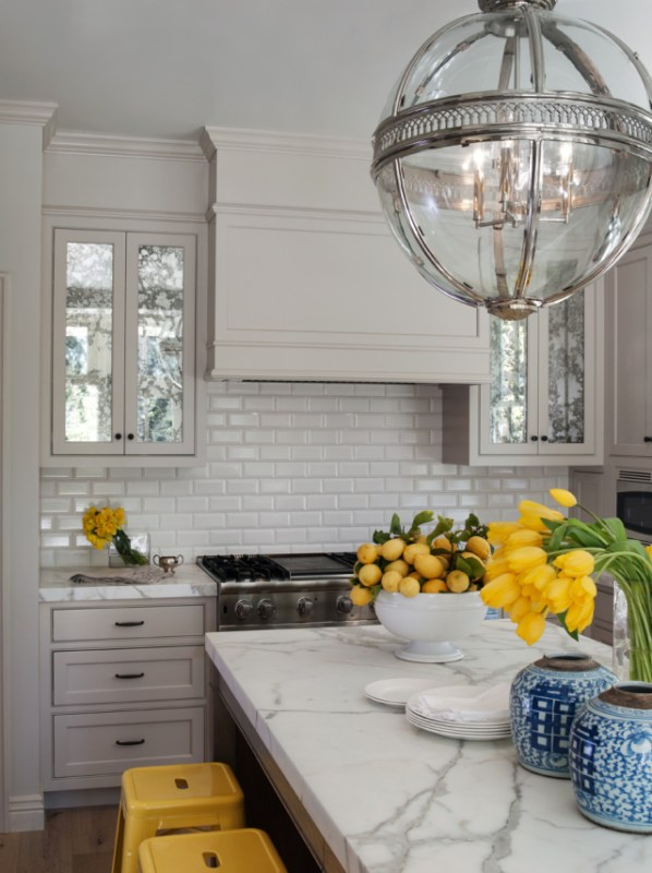 Looking at Glass pop of yellow kitchen