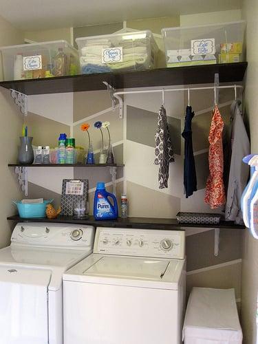 Remodelaholic herringbone laundry room