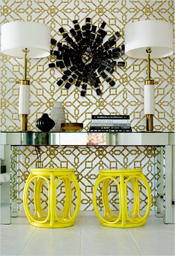Symmetrical console table display and decorating