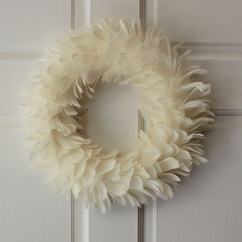 West Elm white feathered wreath