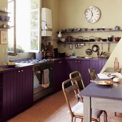 Dark Purple Painted Kitchen Cabinets