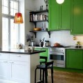 Kelly green painted kitchen cabinets source unknown