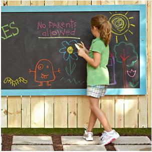 Lowe's fence chalkboard