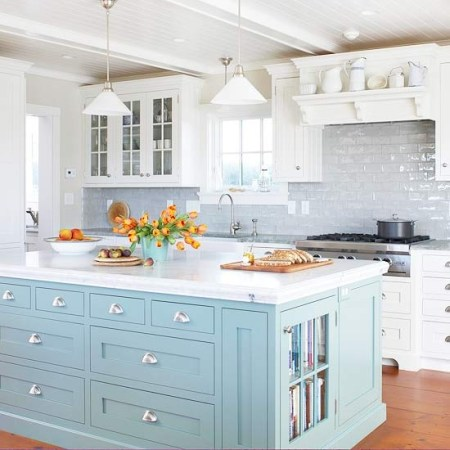 baby blue painted kitchen island