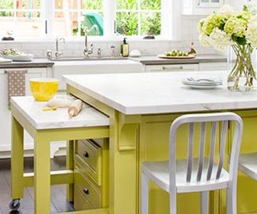 citron painted kitchen island