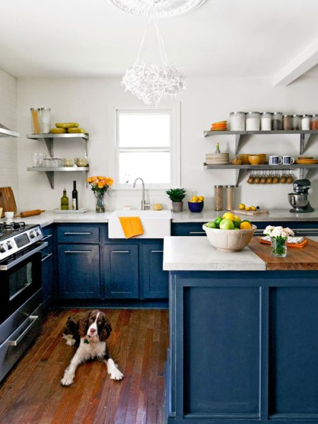 royal blue painted base cabients kithcen with colofully painted cabinets