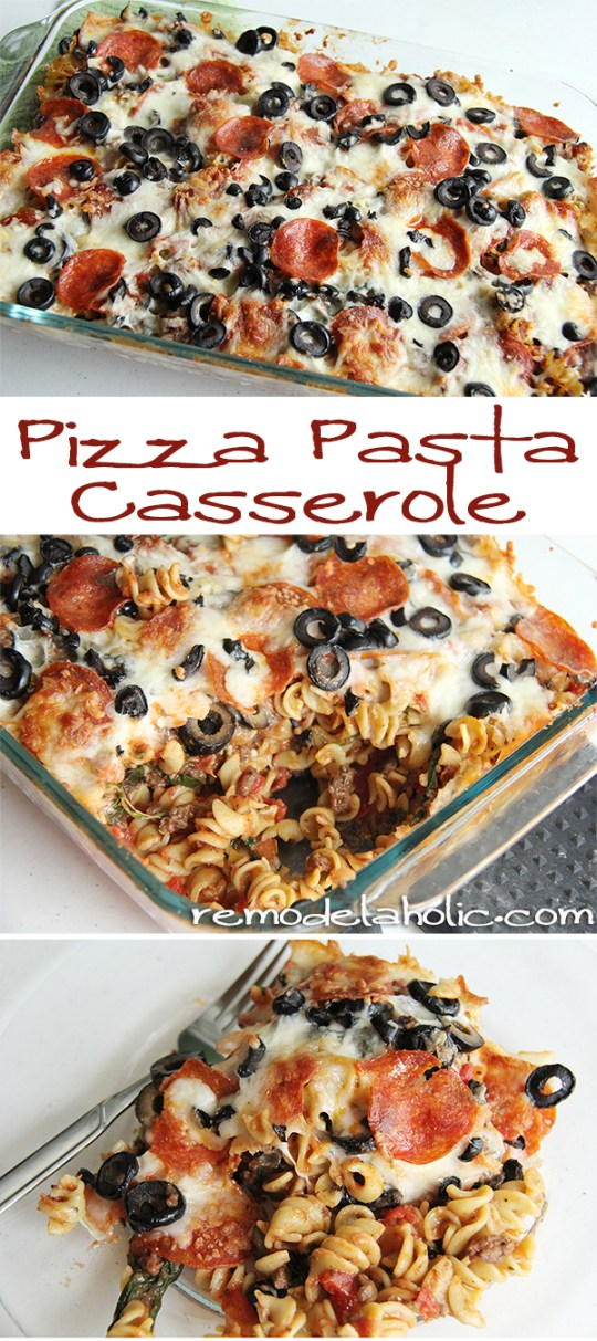 Pizza Pasta Casserole Recipe @remodelaholic #pizza #pasta #casserole #freezer_meal