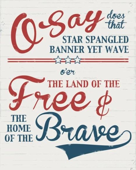 Star Spangled Banner anthem printable set