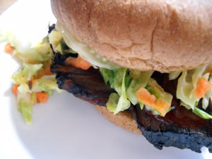 overnight barbecue brisket with tangy coleslaw