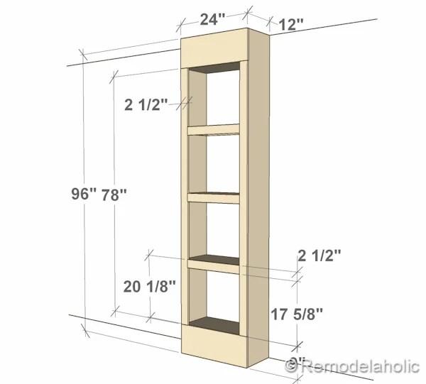 dimensions of bult-in bookshelves